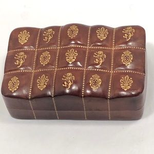 Vintage Leather Jewelry / Cufflink Box